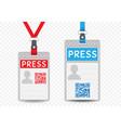 press vertical badge template vector image vector image