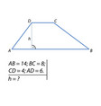 problem of finding the height of the trapezoid vector image vector image