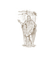 Resurrected Jesus Christ standing with flag vector image vector image