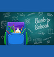 school bag on chalkboard back to school background vector image