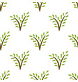 seamless painted plant pattern hand drawn green vector image vector image