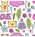 seamless pattern with hand drawn hearts in pastel vector image