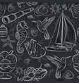 seamless patterns with summer symbols boat sea vector image