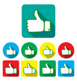 set thumbs up and down on different backgrounds vector image vector image