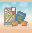 smartphone with travel vacations items vector image