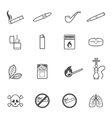 Smoking line style icons set vector image