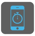 Stopwatch Gadget Rounded Square Icon vector image