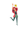 student girl jumping from happiness celebrating vector image