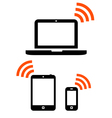 Wireless mobile devices set vector image