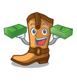 with money old cowboy boots in shape character vector image vector image