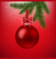 xmas red background with christmas ball and vector image vector image