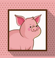 cute pig frame picture vector image