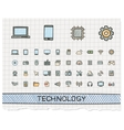 Technology hand drawing line icons doodle vector image