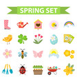 spring icons set flat style gardening cute vector image