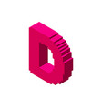 3d pixelated capital letter d 3d isometric style vector image vector image