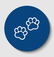animal tracks sign white contour icon in vector image