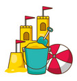 beach bucket shovel castle and ball vector image vector image