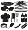 black white bbq cooking 15 element silhouette set vector image