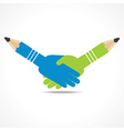 businessman handshake background with pencil vector image