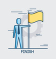 businessman with finish flag achieving goal thin vector image