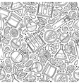Cartoon cute hand drawn Science seamless pattern vector image vector image
