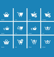 Checkout icons on blue background vector image vector image