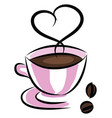 coffee in a pink cup simple on white background vector image vector image