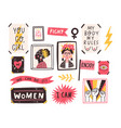 collection symbols feminism and body vector image