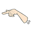 comic cartoon halloween pointing hand vector image vector image