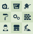 construction icons set with builder wheelbarrow vector image