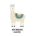 cute llama card with no drama motivational quote vector image vector image