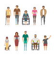 disabled people isolated set in flat design vector image vector image