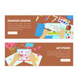 drawing lessons art studio landing page creating vector image