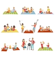 Families On Picnic Outdoors vector image vector image