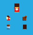 flat icon chocolate set of bitter dessert cocoa vector image vector image