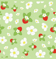 flowers and strawberry repeat floral print vector image vector image