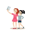 Girls Taking Selfie with Tablet vector image