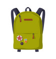 green backpack with front zippered pocket for vector image vector image