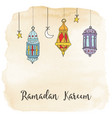 hand drawn hanging arabic lanterns moon and stars vector image vector image