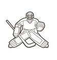 ice hockey goalie sport player cartoon action vector image