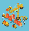 isometric construction site vehicles building vector image vector image