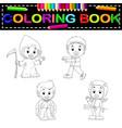 kids halloween coloring book vector image
