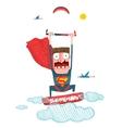 Kitesurfing superman trick cartoon in costume vector image