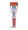 man cartoon holding blank board election vector image
