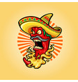 mexican red hot chili pepper with hat icon mascot vector image