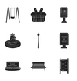 Park set icons in black style Big collection of vector image vector image