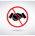 prohibiting handshake sign vector image