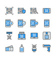 qr code related in colorline icon set vector image vector image