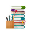 school books stack with pens and pencils glass vector image