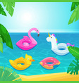 sea beach with colorful floats in water vector image vector image